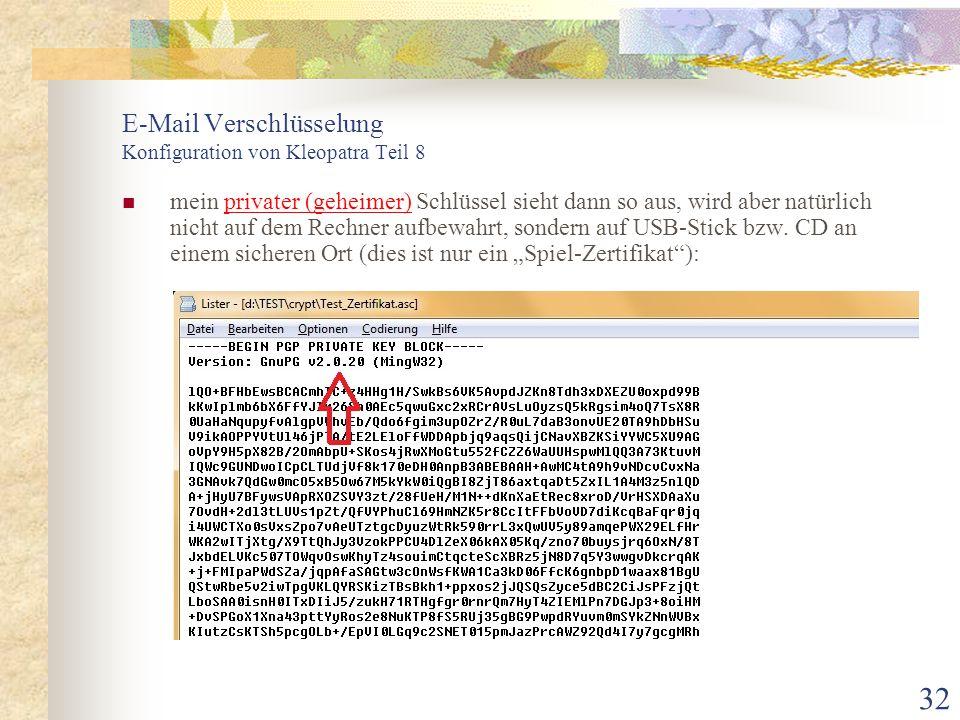 E-Mail Verschlüsselung Konfiguration von Kleopatra Teil 8