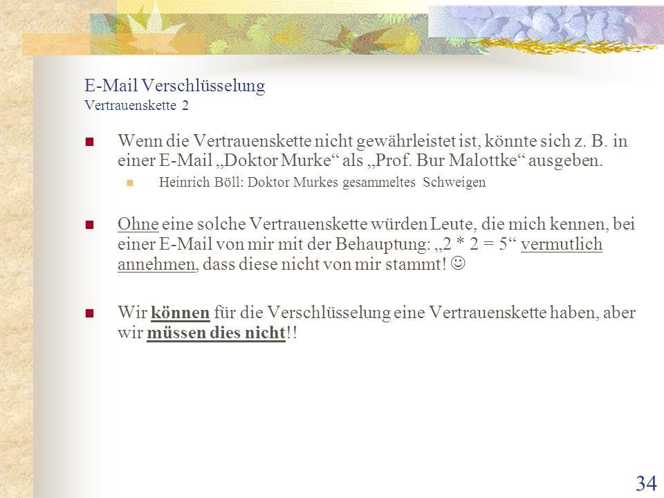 E-Mail Verschlüsselung Vertrauenskette 2