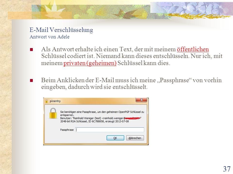 E-Mail Verschlüsselung Antwort von Adele
