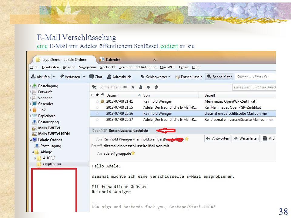 E-Mail Verschlüsselung eine E-Mail mit Adeles öffentlichem Schlüssel codiert an sie