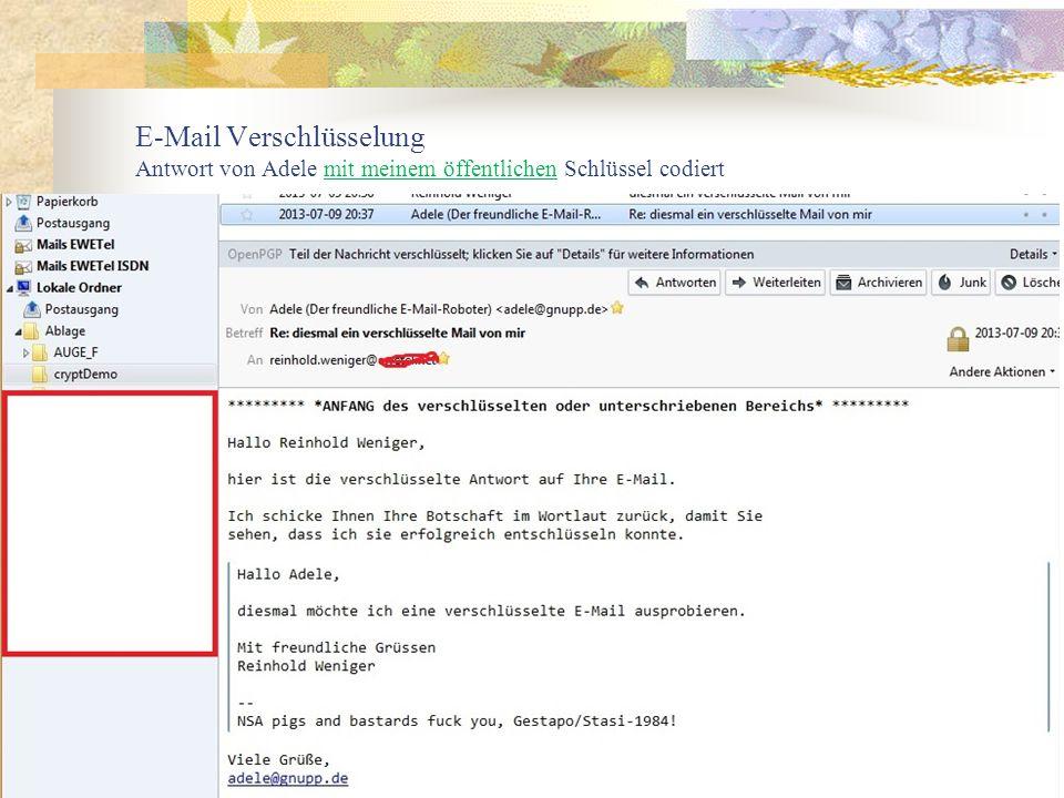 E-Mail Verschlüsselung Antwort von Adele mit meinem öffentlichen Schlüssel codiert