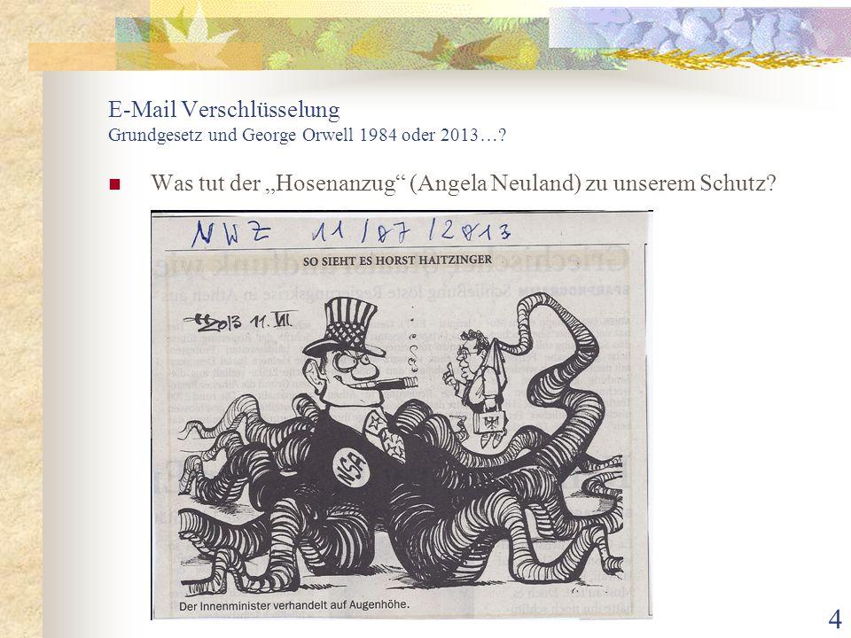E-Mail Verschlüsselung Grundgesetz und George Orwell 1984 oder 2013…