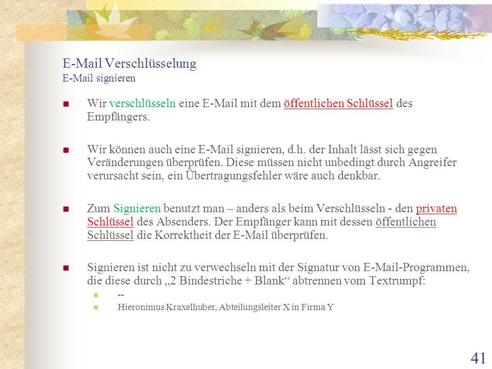 E-Mail Verschlüsselung E-Mail signieren