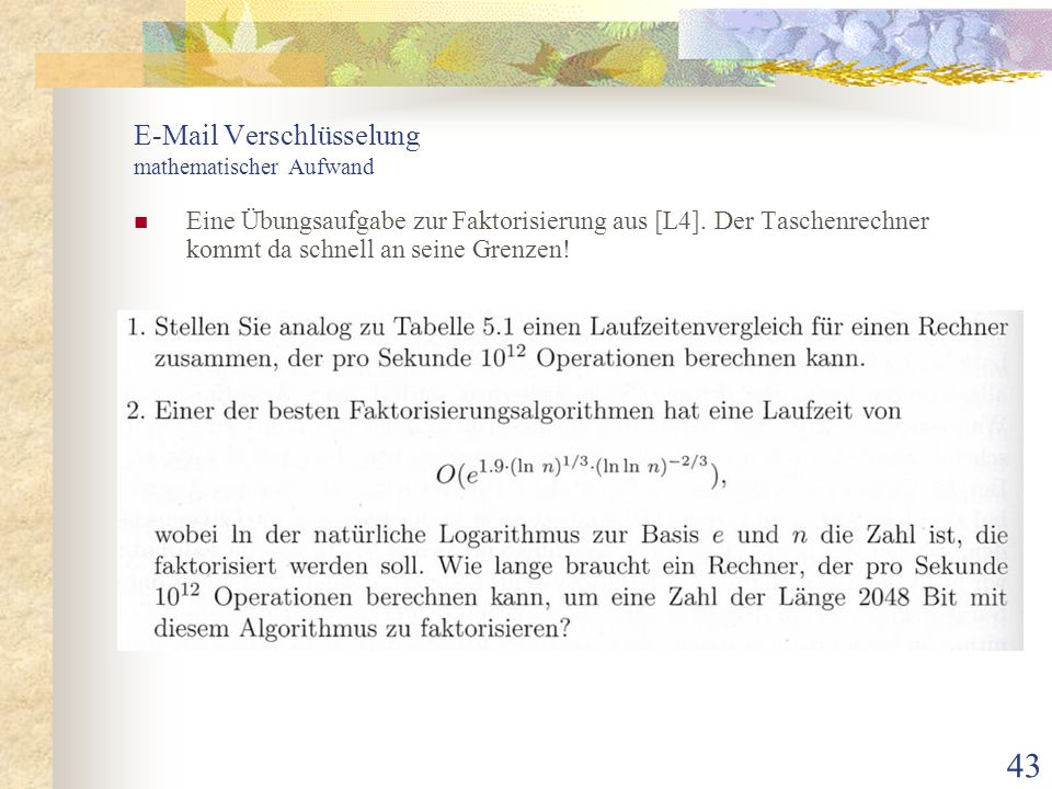 E-Mail Verschlüsselung mathematischer Aufwand
