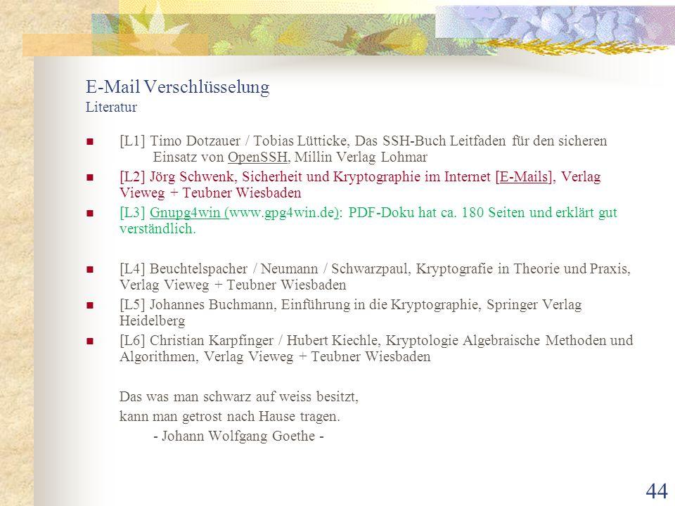 E-Mail Verschlüsselung Literatur