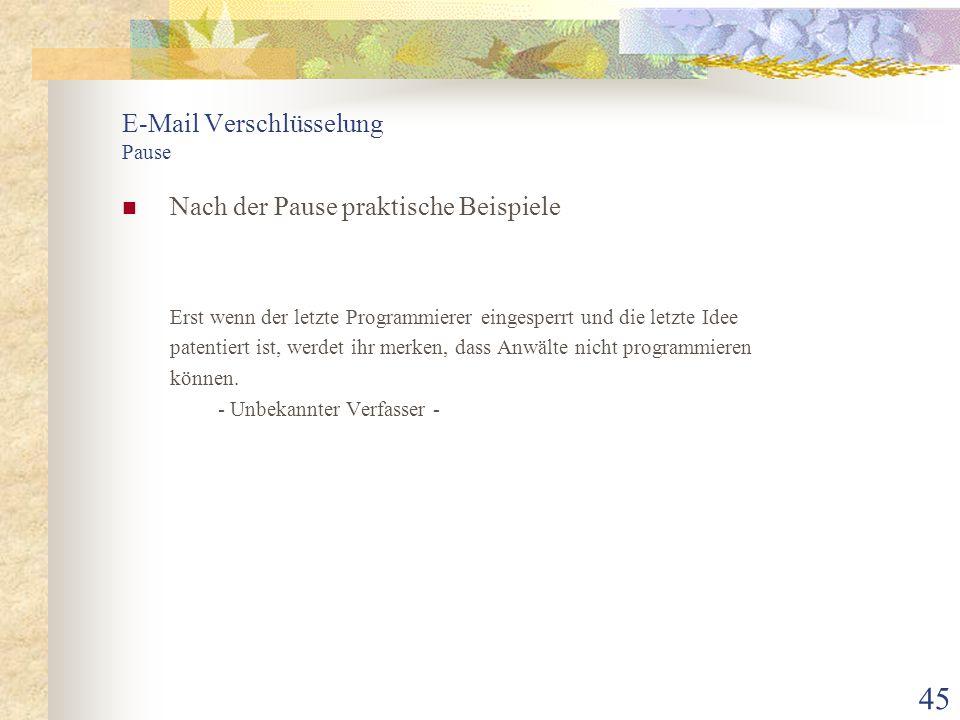E-Mail Verschlüsselung Pause