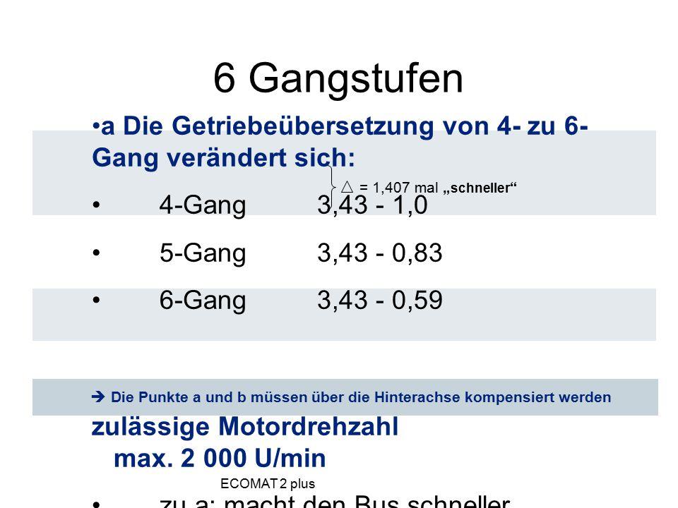 6 Gangstufen a Die Getriebeübersetzung von 4- zu 6-Gang verändert sich: 4-Gang 3,43 - 1,0. 5-Gang 3,43 - 0,83.