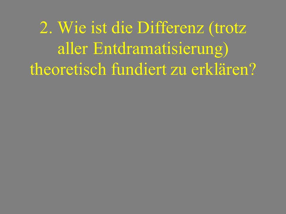 2. Wie ist die Differenz (trotz aller Entdramatisierung) theoretisch fundiert zu erklären