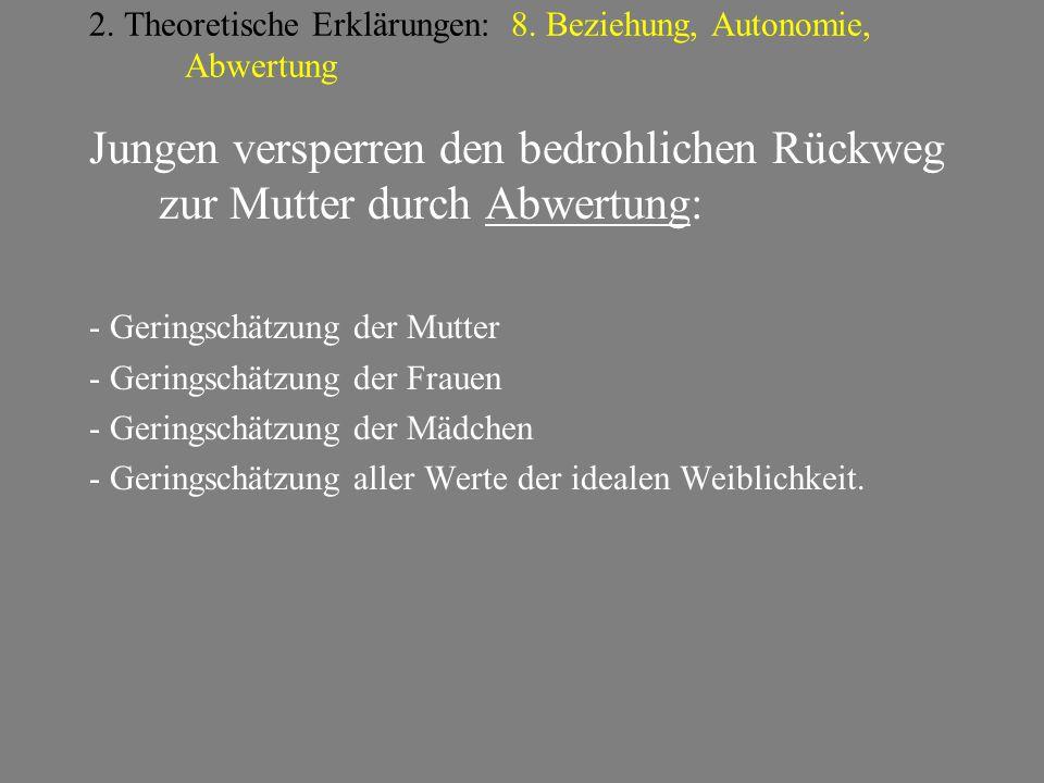 2. Theoretische Erklärungen: 8. Beziehung, Autonomie, Abwertung
