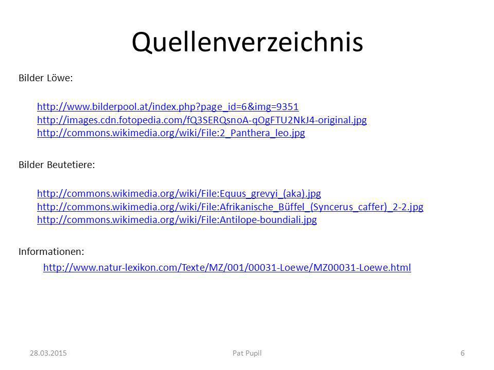 Quellenverzeichnis Bilder Löwe: