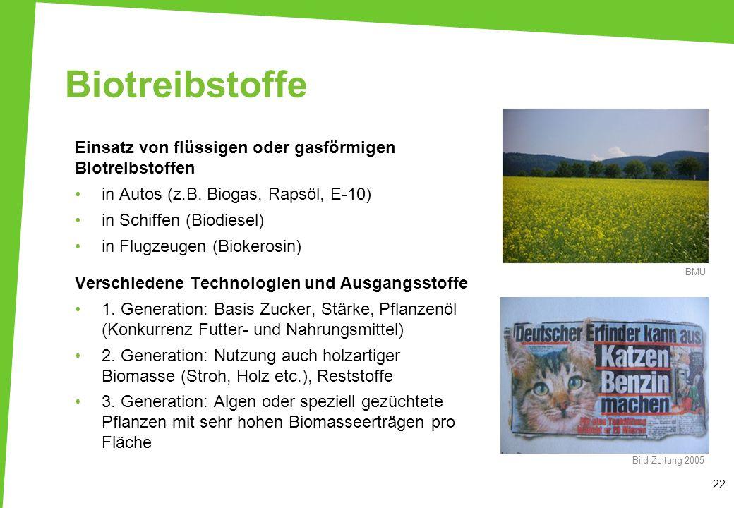 Biotreibstoffe Einsatz von flüssigen oder gasförmigen Biotreibstoffen