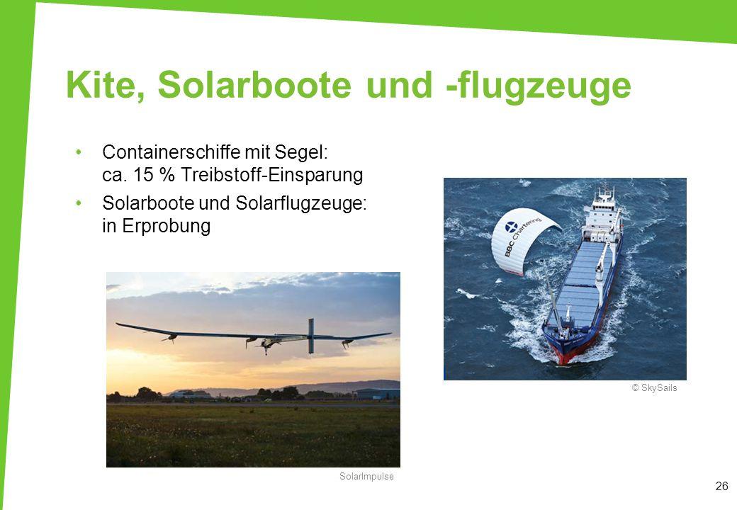 Kite, Solarboote und -flugzeuge