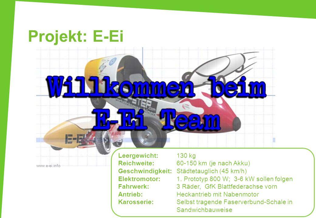 Projekt: E-Ei Leergewicht: 130 kg Reichweite: 60-150 km (je nach Akku)