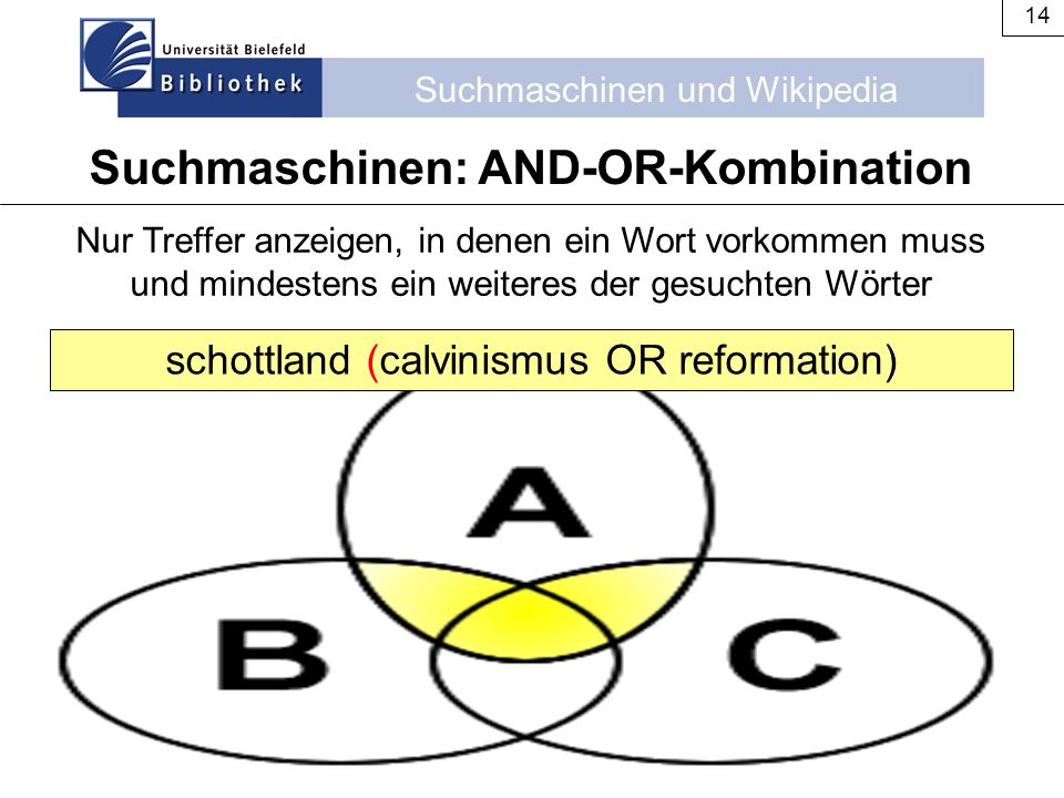 Suchmaschinen: AND-OR-Kombination