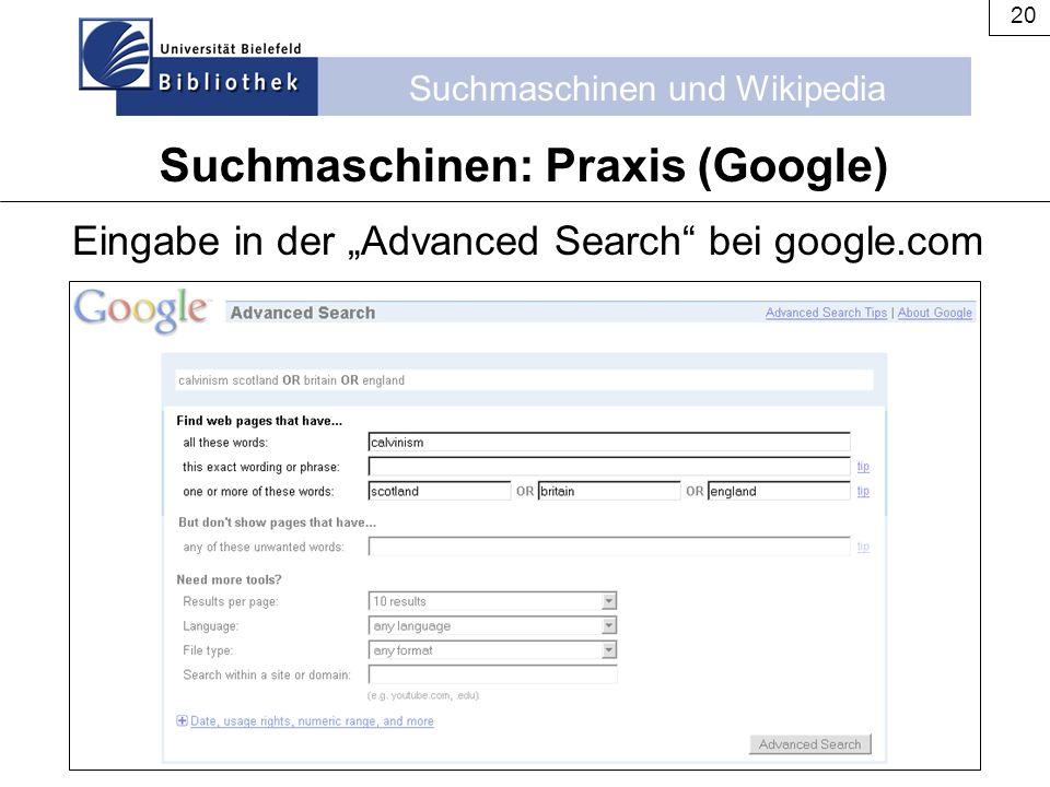 Suchmaschinen: Praxis (Google)