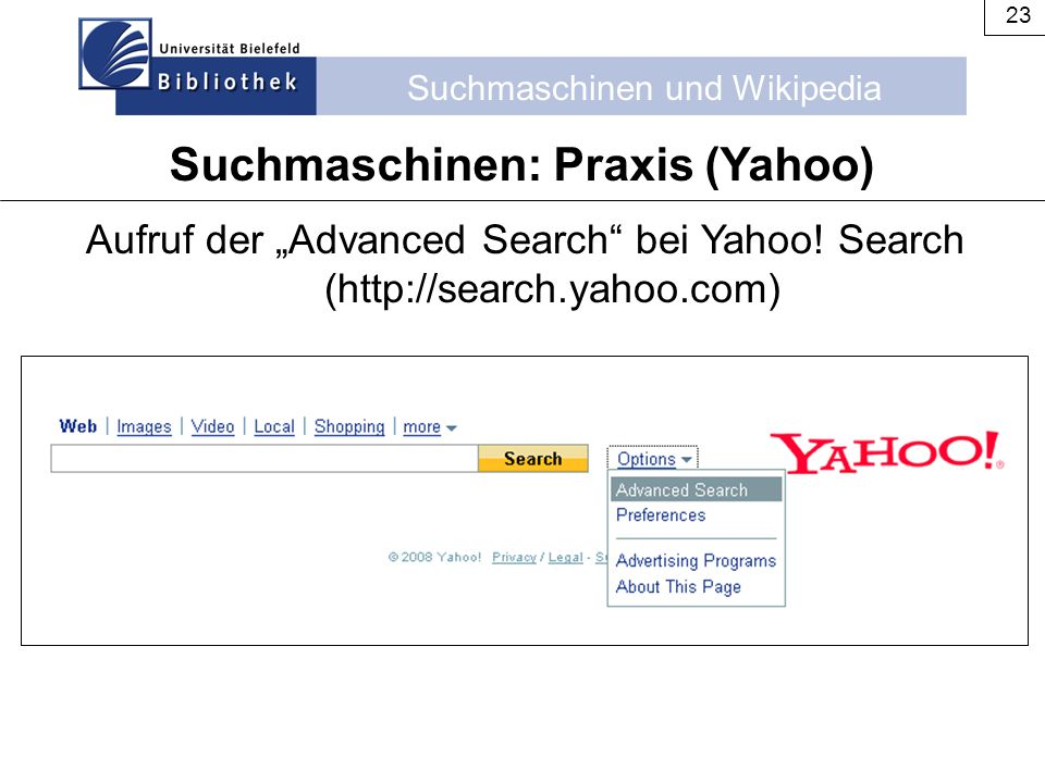 Suchmaschinen: Praxis (Yahoo)