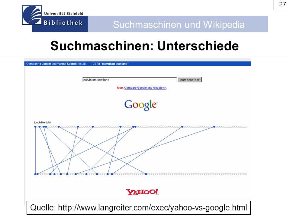 Suchmaschinen: Unterschiede
