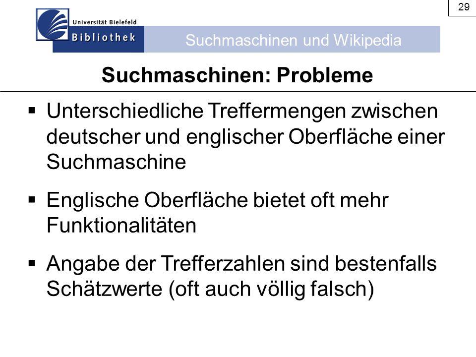 Suchmaschinen: Probleme