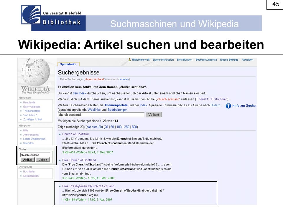 Wikipedia: Artikel suchen und bearbeiten