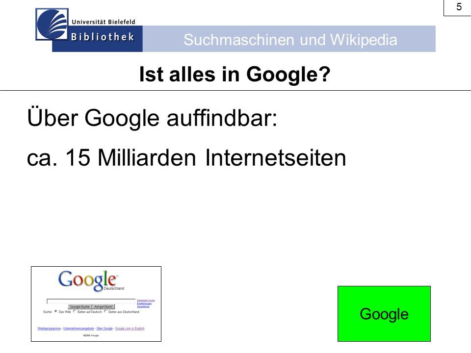 Über Google auffindbar: ca. 15 Milliarden Internetseiten