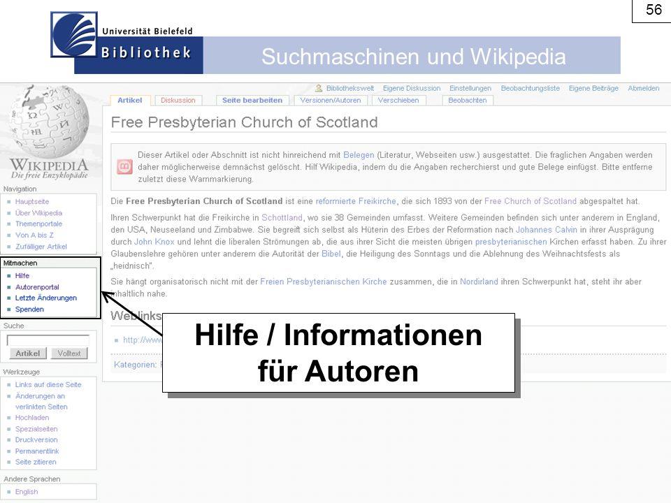 Hilfe / Informationen für Autoren