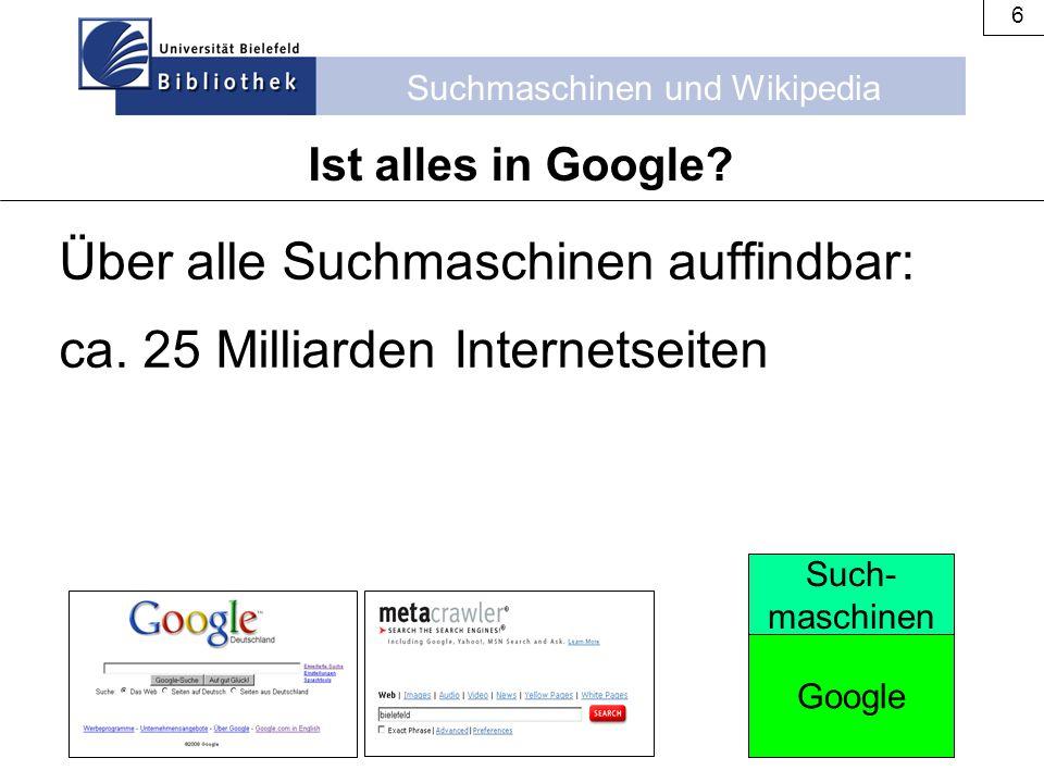 Über alle Suchmaschinen auffindbar: ca. 25 Milliarden Internetseiten