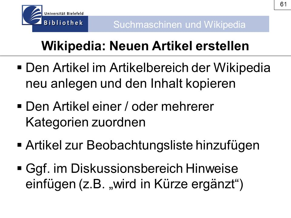 Wikipedia: Neuen Artikel erstellen