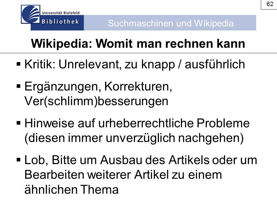Wikipedia: Womit man rechnen kann