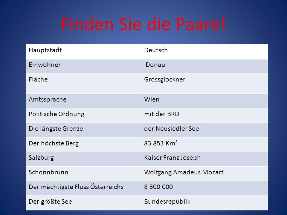 Finden Sie die Paare! Hauptstadt Deutsch Einwohner Donau Fläche