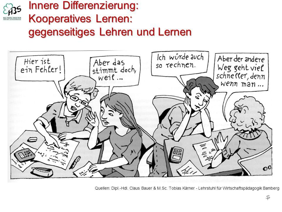 Innere Differenzierung: Kooperatives Lernen: gegenseitiges Lehren und Lernen