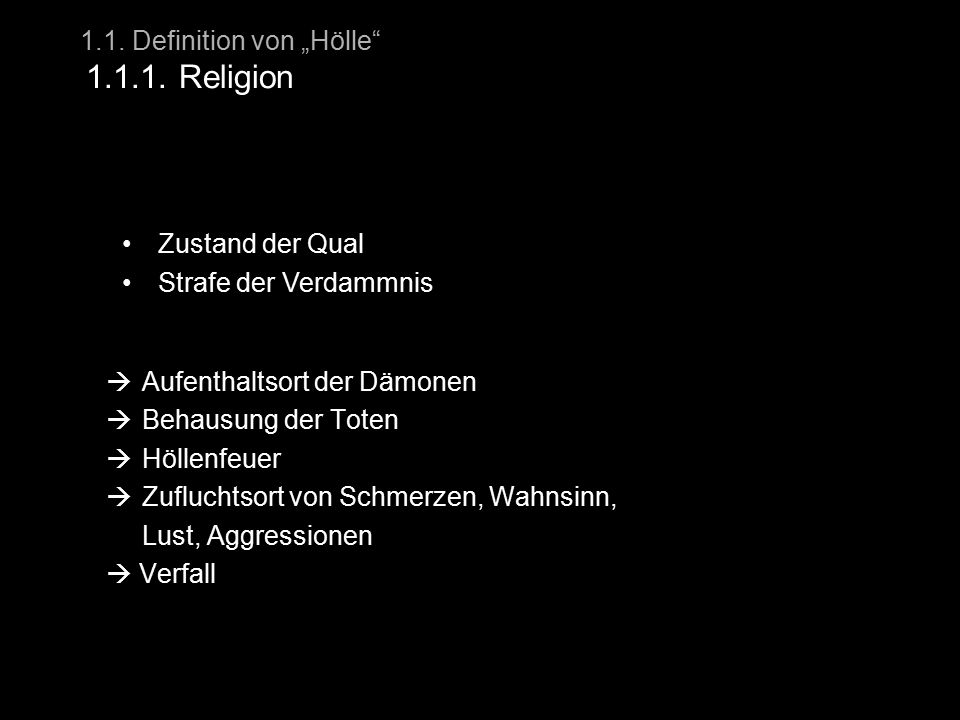 "1.1. Definition von ""Hölle 1.1.1. Religion"