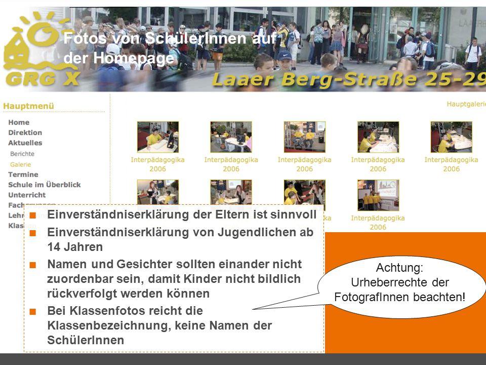 Fotos von SchülerInnen auf der Homepage