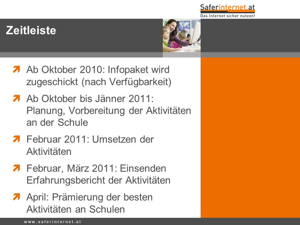 Zeitleiste Ab Oktober 2010: Infopaket wird zugeschickt (nach Verfügbarkeit)