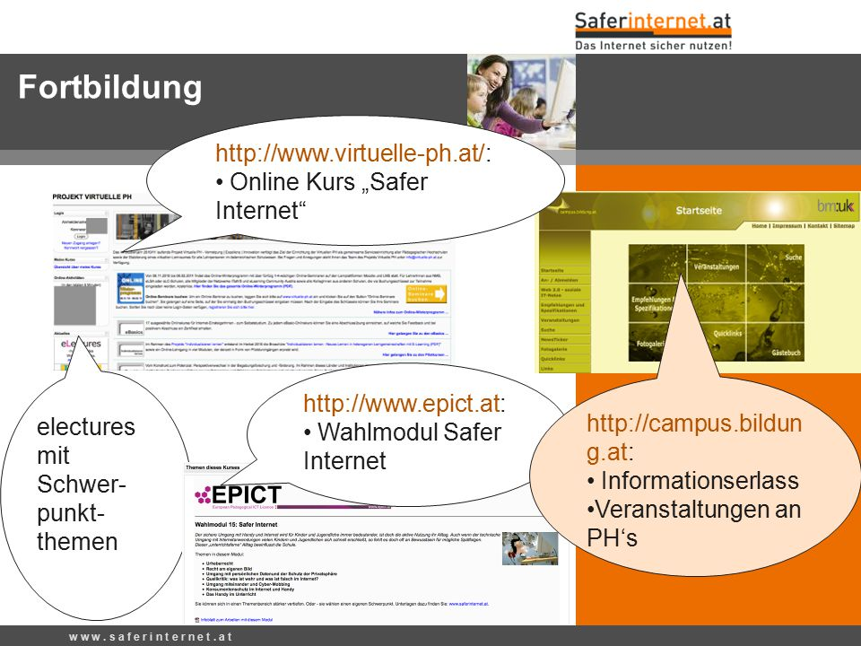 "Fortbildung http://www.virtuelle-ph.at/: Online Kurs ""Safer Internet"