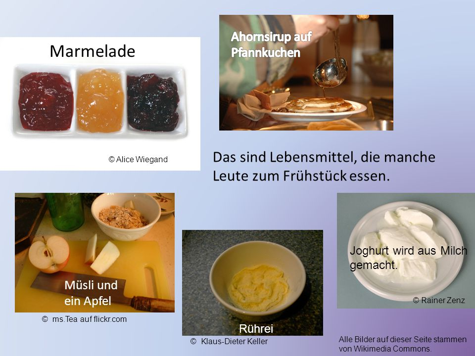 Marmelade Das sind Lebensmittel, die manche Leute zum Frühstück essen.