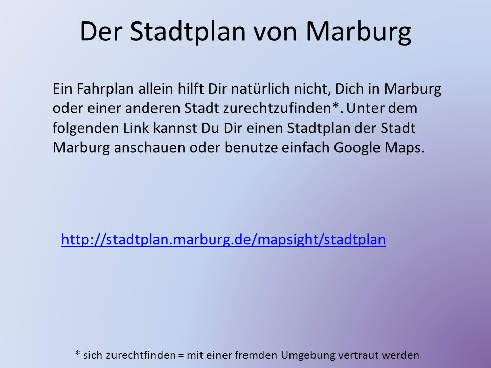 Der Stadtplan von Marburg