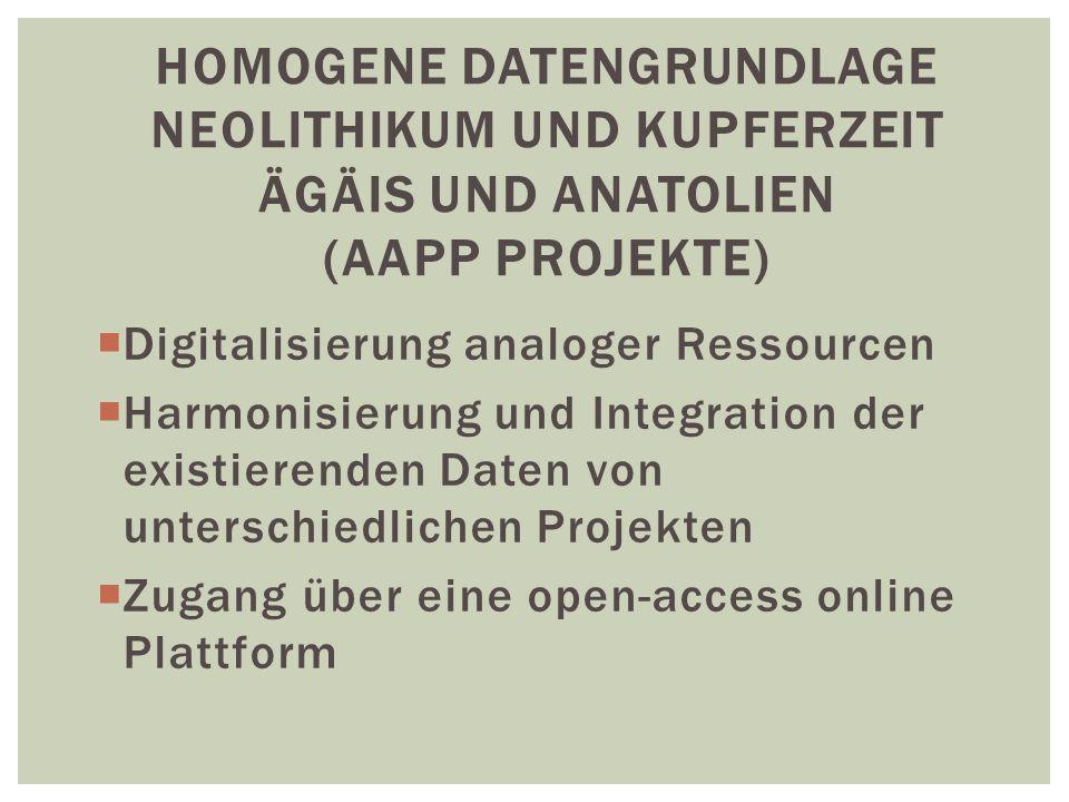 Homogene Datengrundlage Neolithikum und Kupferzeit Ägäis und Anatolien (AAPP PROJEKTE)