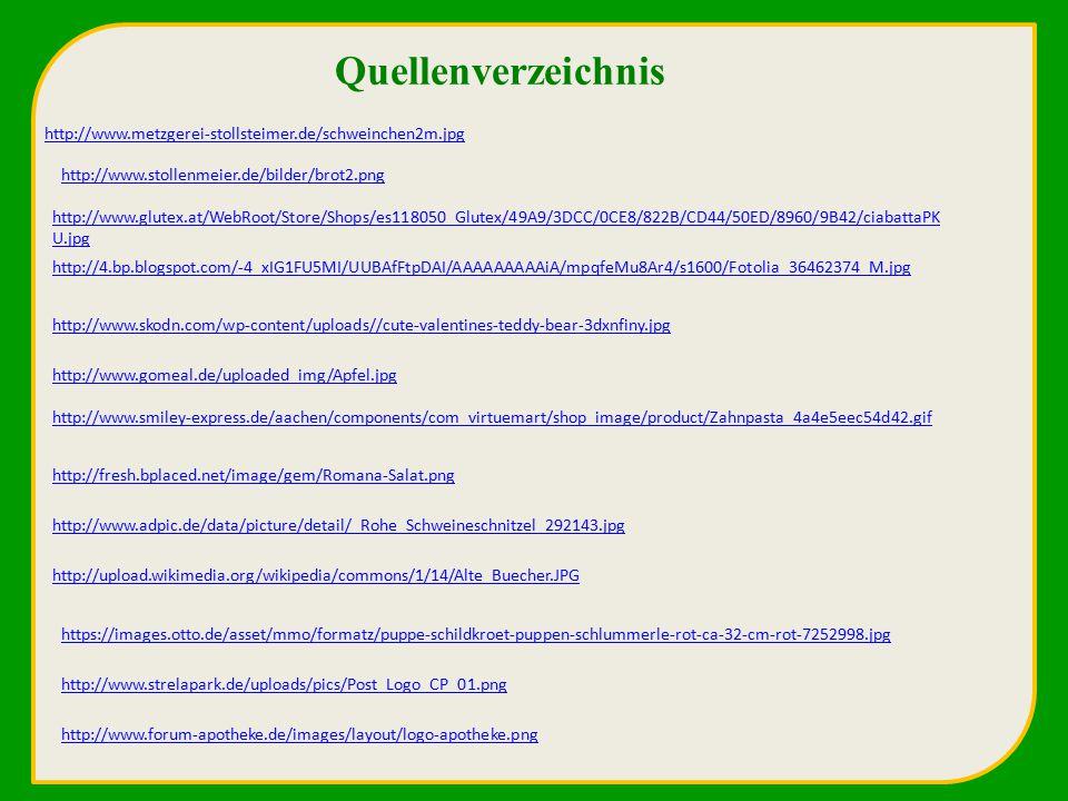 Quellenverzeichnis http://www.metzgerei-stollsteimer.de/schweinchen2m.jpg. http://www.stollenmeier.de/bilder/brot2.png.