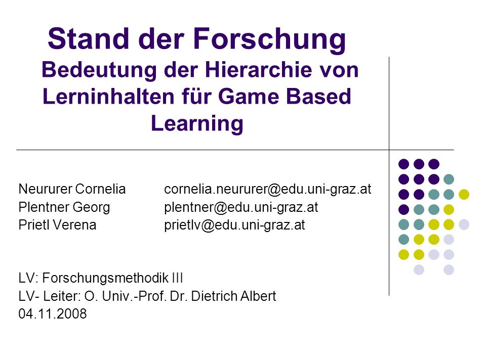 Stand der Forschung Bedeutung der Hierarchie von Lerninhalten für Game Based Learning