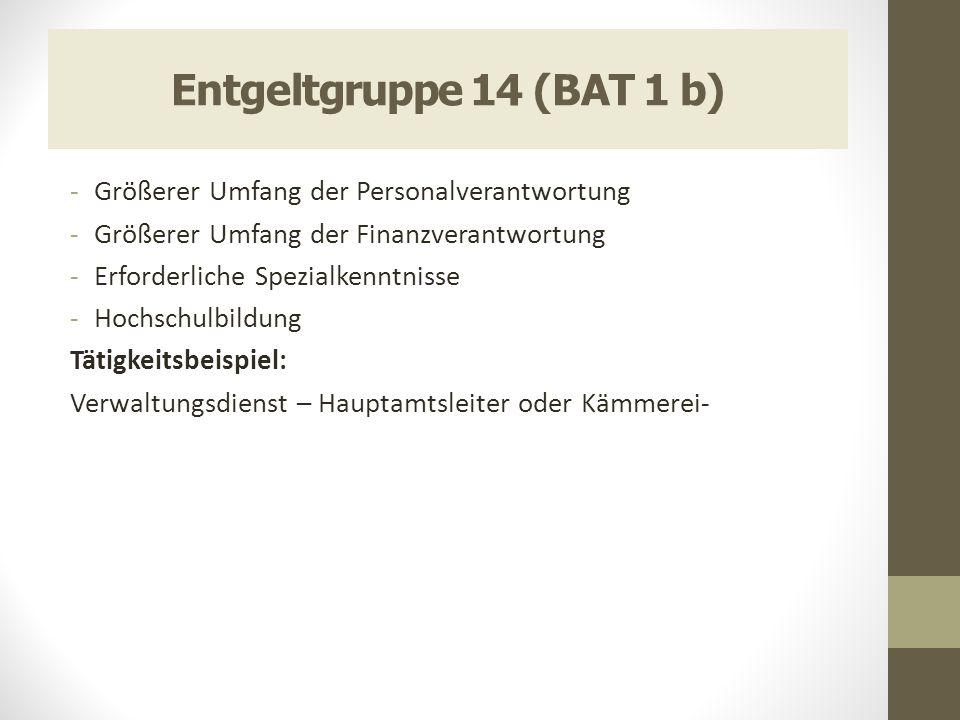 Entgeltgruppe 14 (BAT 1 b) Größerer Umfang der Personalverantwortung