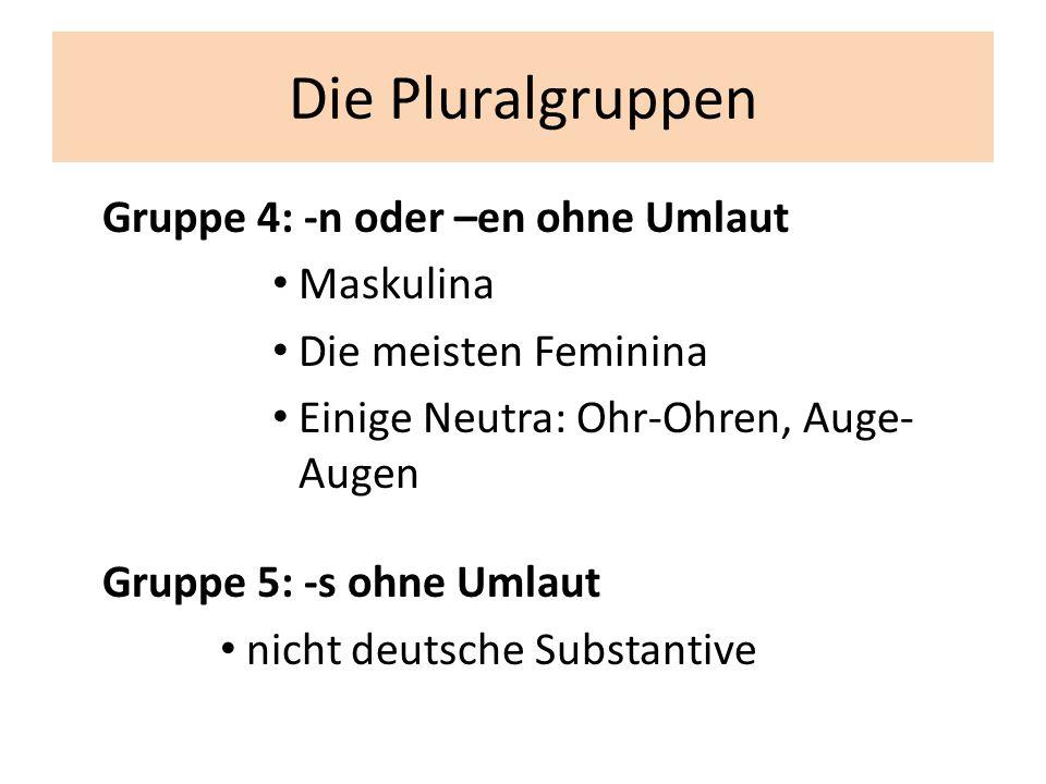 Die Pluralgruppen Gruppe 4: -n oder –en ohne Umlaut Maskulina
