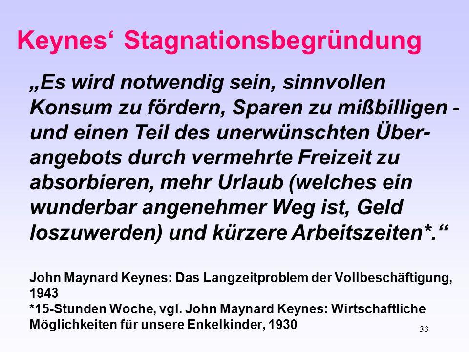 Keynes' Stagnationsbegründung