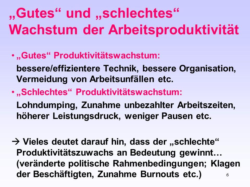 """""""Gutes und """"schlechtes Wachstum der Arbeitsproduktivität"""
