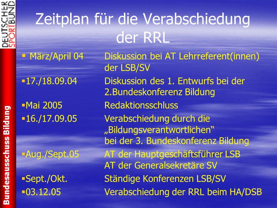 Zeitplan für die Verabschiedung der RRL