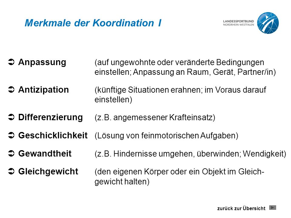 Merkmale der Koordination I