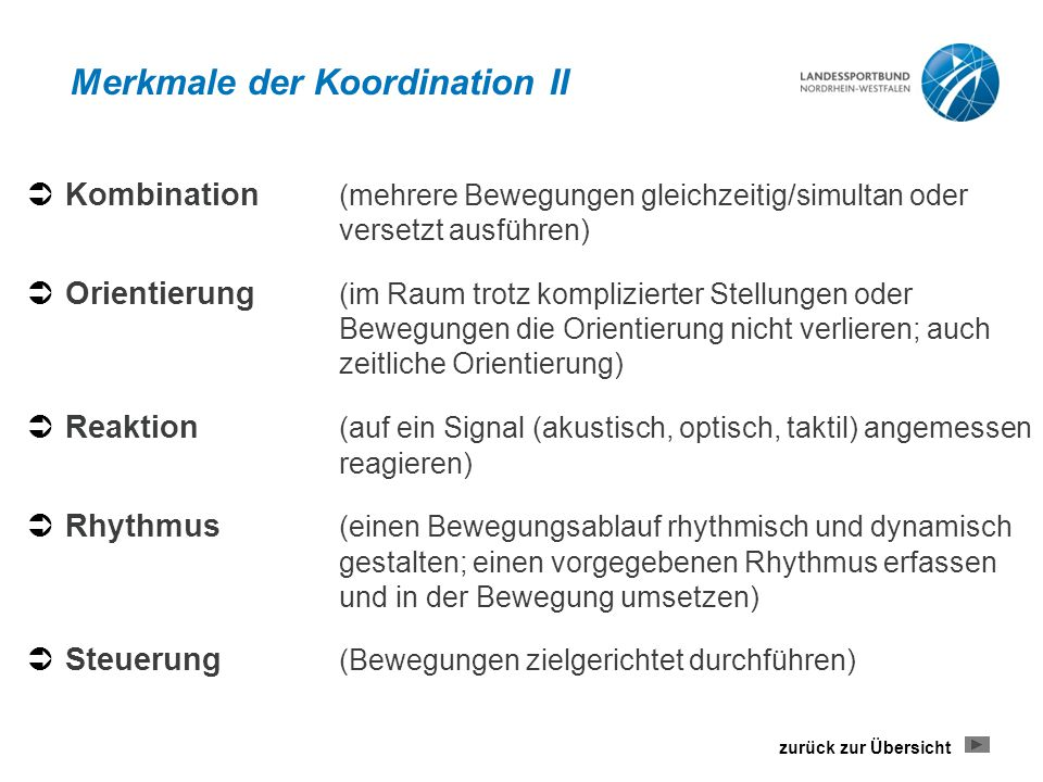 Merkmale der Koordination II