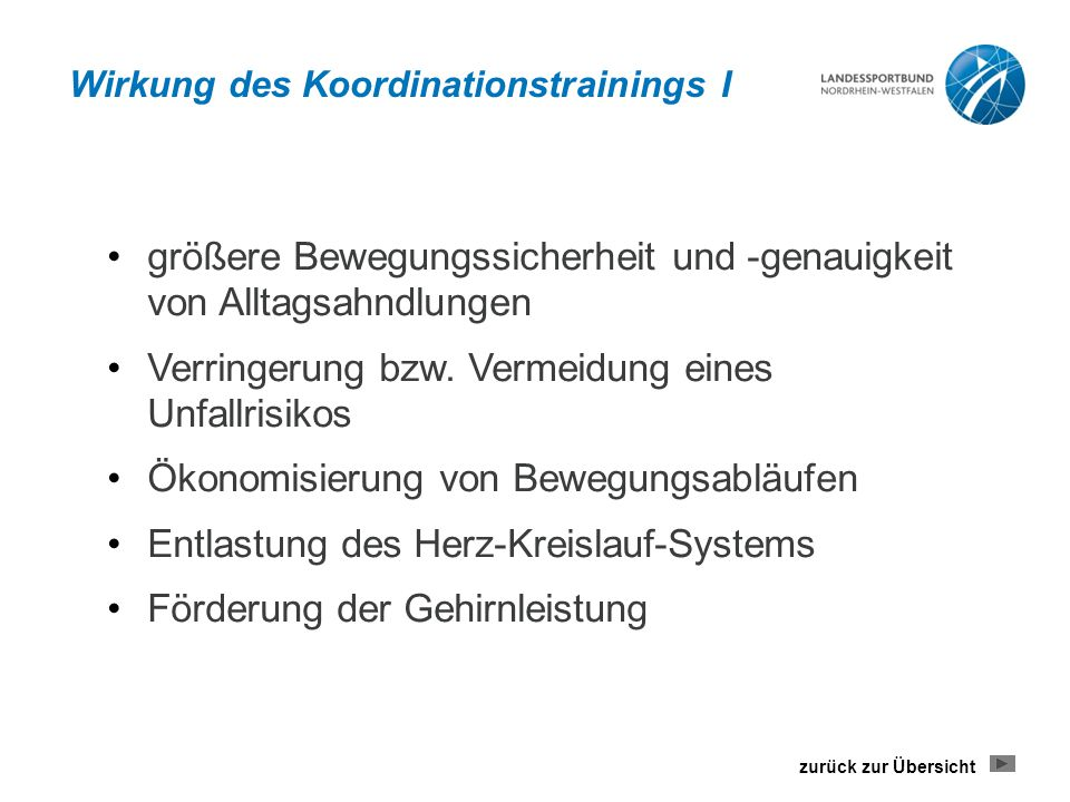 Wirkung des Koordinationstrainings I