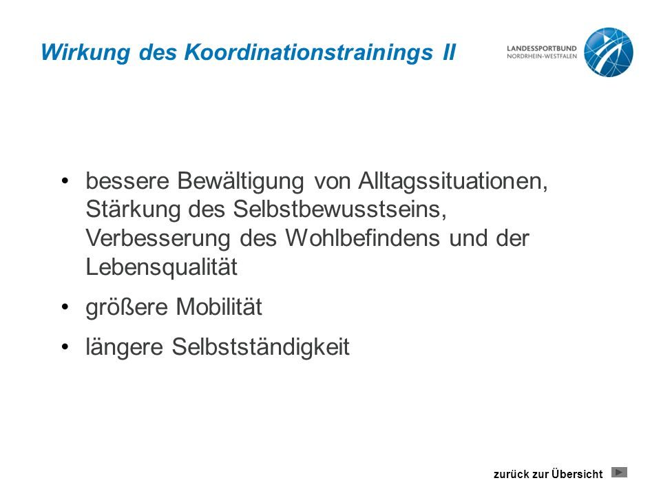 Wirkung des Koordinationstrainings II