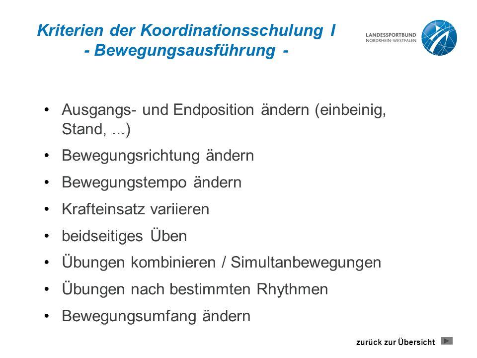 Kriterien der Koordinationsschulung I - Bewegungsausführung -
