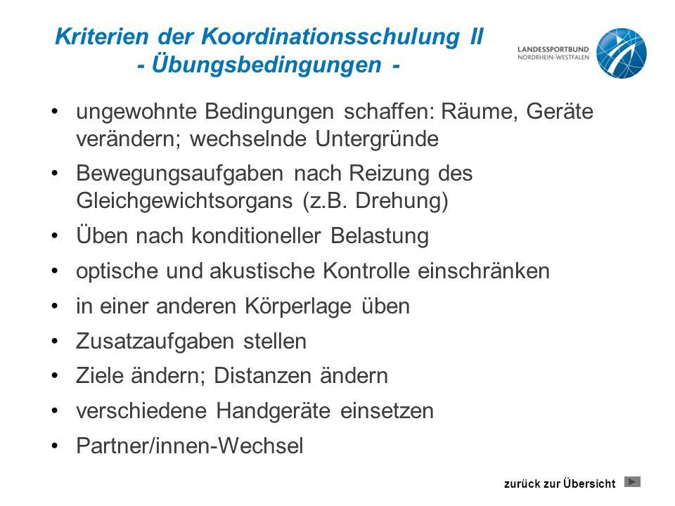 Kriterien der Koordinationsschulung II - Übungsbedingungen -